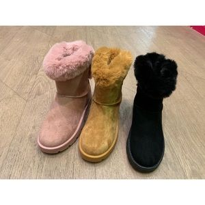 Lucita Shoes - Faux Fur Black Ankle Ugg Like Bow Boots